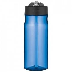 Sticlă pentru hidratare cu pai - albastru deschis